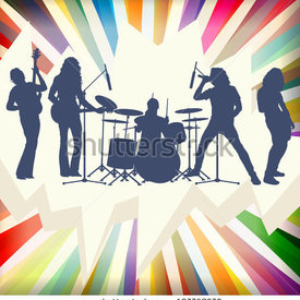 Stock vector rock concert band silhouettes burst background illustration vector 107768279