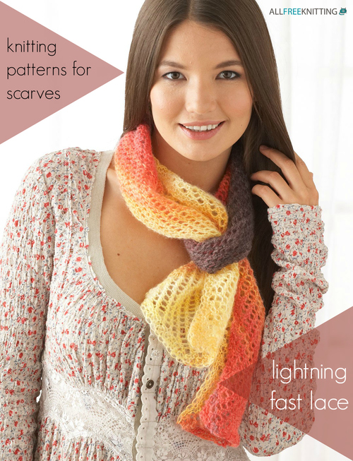 33 Knitting Patterns for Scarves: Lightning Fast Lace AllFreeKnitting.com
