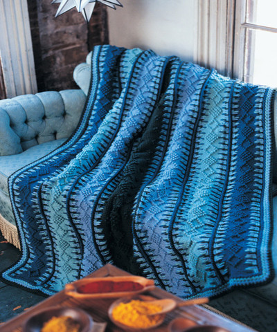 Alaskan Blue Tunisian Crochet Blanket Free Pattern