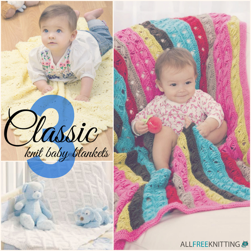 3 Classic Knit Baby Blankets