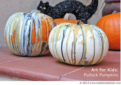 Kid-Friendly Pollock Painted Pumpkins