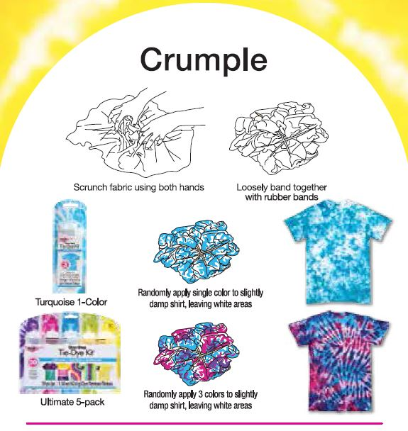 dea4d7845e0b The crumple technique from I Love to Create is a classic and easy way to  create tie-dye designs in shirts and other fabrics. Follow this photo  tutorial to ...