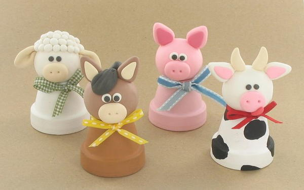 4 barnyard polymer clay ideas for Art and craft pot decoration
