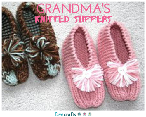 Free Knitting Patterns For Socks And Slippers : How to Knit Grandmas Knitted Slippers: Free Knitting Pattern FaveCraft...