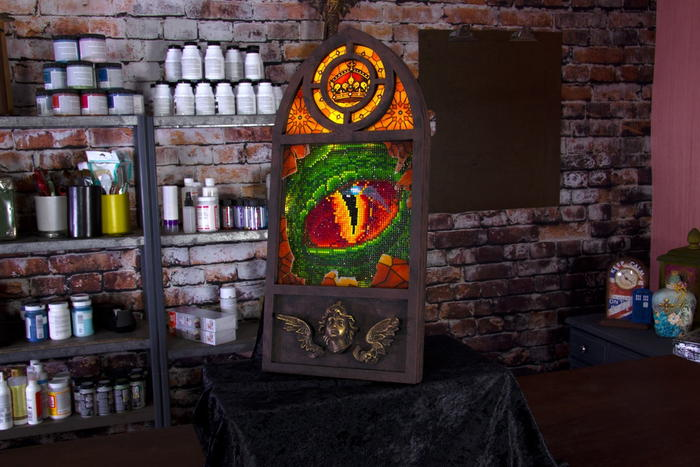 "DIY: Dragon in the Window Featuring Diamond Art, Lights and ""Stained Glass"""