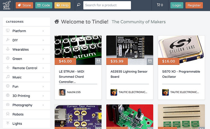 Screenshot of the website for Tindie.com which shows photos of various indie-made products for sale and details about them. Products include Le Strum MIDI Strummed Chord Controllers, a Lightning Sensor Board, and a Programmable Oscillator.