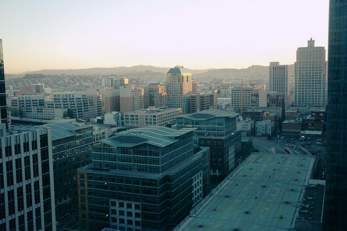 San Francisco buildings at sunset.