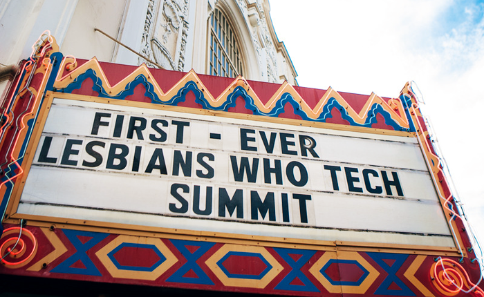 The old-style marquee of San Francisco's Castro Theatre. It reads First-Ever Lesbians Who Tech Summit.