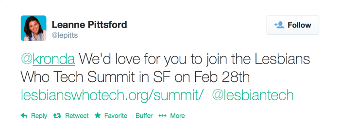 Tweet to Kronda, which reads: We'd love for you to join the Lesbians Who Tech Summit in SF on Feb 28th