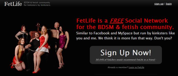 Screenshot of FetLife homepage.