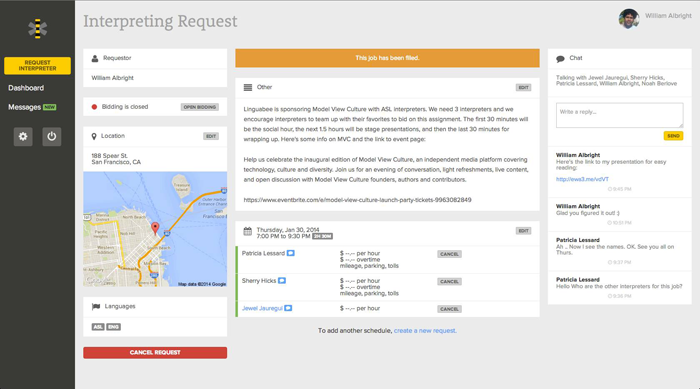 A screenshot of the Linguabee dashboard, which shows the name of the person requesting interpreting; information about the event and a map to it, and a conversation between the requester and the ASL interpreters bidding on the assignment.