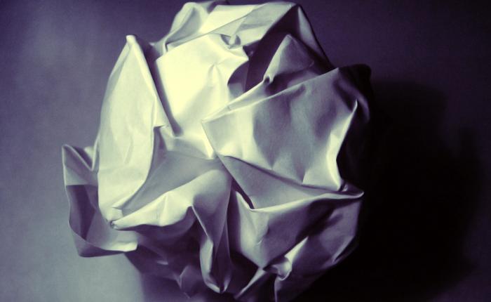 A crumpled paper ball.