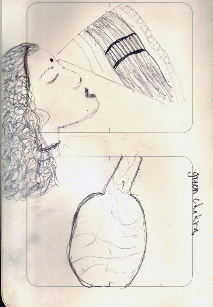 Two-panel sketch, the first of a woman in profile, her lips open and hair cascading down the page. A triangle-shaped projection emerges from the third eye region, showing a river with a bridge crossing it. In the second panel is a sketch of a heart with the words 'green chakra'.