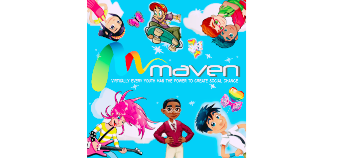 Poster for Maven, which reads: virtually every youth has the power to create social change. It has bright colors, a cartoon-like and happy feel, and features illustrations of diverse youth doing various activities like skateboarding and playing guitar.