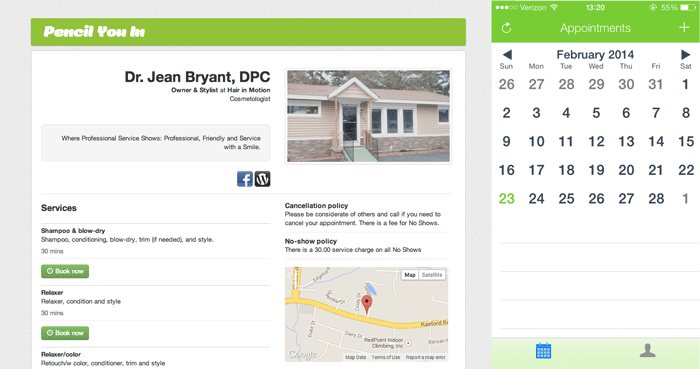 Screenshots of the Pencil You In app. Two screen views are displayed: one with a photo of a hair salon with details on its services, policies and location; and the other of a mobile calendar titled Appointments.