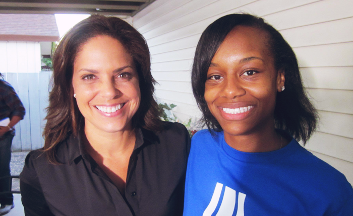 Bell, the author, posing with Soledad O'Brien.