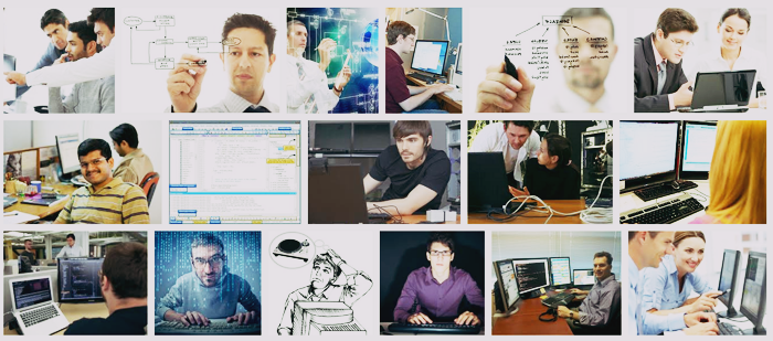 Screenshot of the grid google image results for the phrase 'a software developer' - the results show mostly white men and almost all contain either a keyboard or someone drawing a schematic on glass.