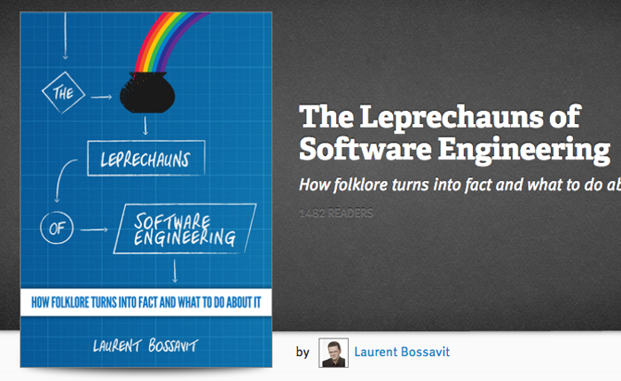 Page for the Leprechauns of Software Engineering book, subtitled: How Folklore turns into fact and what to do about it. The book cover has a cauldron with a rainbow emerging.