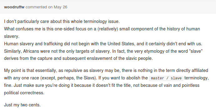 What confuses me is this one-sided focus on a (relatively) smnall component of the history of human slavery. Human slavery and trafficking did not begin with the United States, and it certainly didn't end with us. Similarly, Africans were not the only targets of slavery. In fact, the very etymology of the word 'slave' derives from the capture and subsequent enslavement of the slavic people.