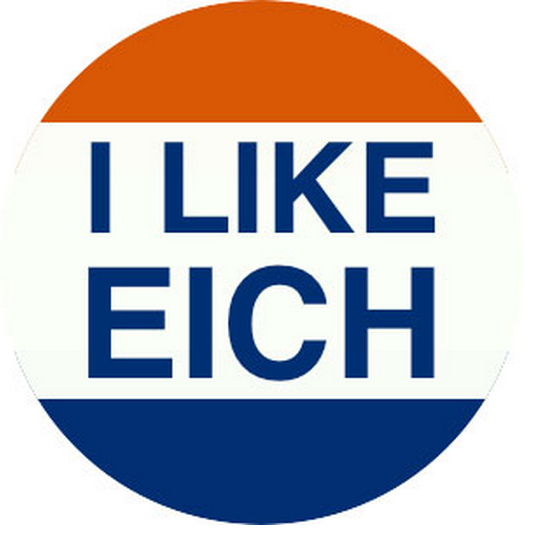 Red, white and blue sticker that says 'I Like Eich'.