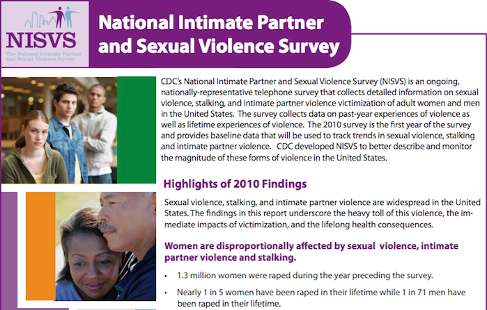 Screenshot of the National Intimate Partner and Sexual Violence Survey, with highlights of 2010 findings, reading: Sexual violence, stalking, and intimate partner violence are widespread in the United States. The findings in this report underscore the heavy toll of this violence, the immediate impacts of victimization, and the lifelong health consequences.