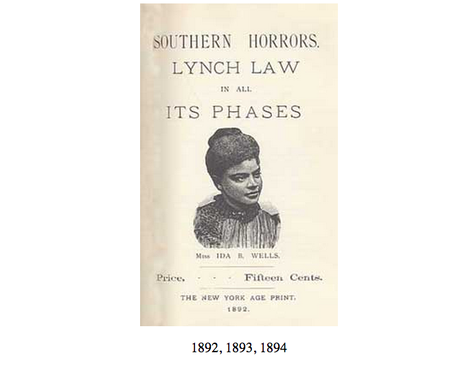 Cover of Ida B. Wells' pamplet, with an illustration of the author. Includes the title, author's name, and price listed as fifteen cents. The New York Age Print, 1892.