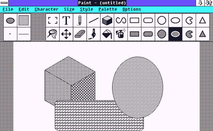 Early interface of Microsoft Paint, showing simple colors and large shapes being made.
