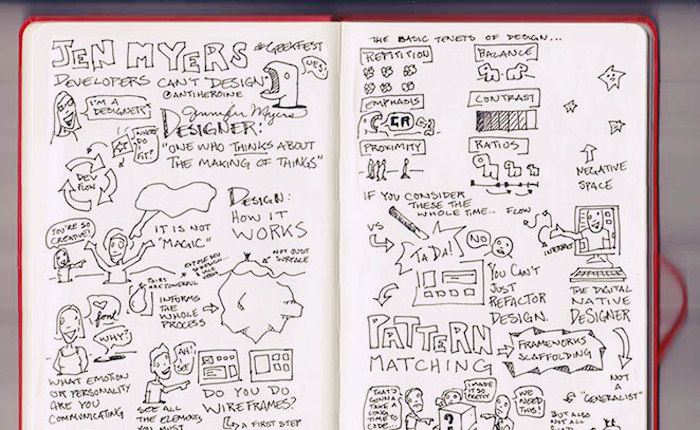 This sketchnote is shown within an open notebook. It is black and white, and titled: Jen Myers, Developers Can't Design. It has a sketch of the speaker saying: I am a designer - One who thinks about the making of things. It has a progressive flow of how design works, with small sketches of users along the way, and questions that illustrate how to think about the design process: What emotion or personality are you communicating? Ask why. Do you do wireframes? On the opposite page, the sketchnote lays out: The Basic Tenants of Design. This includes repetition, which shows a number of small flowers lined up; balance, which shows two small dinosaurs next to each other; emphasis, which shows a dinosaur roaring; contrast, which shows a progression of increasingly dark tiles; and negative space, which shows stars in the sky and an arrow pointing to the space between them. Then there is an image of a person in a computer screen, reaching outside of the monitor with the title: The digital native designer. The sketchnote concludes with a sketch of a wireframe and the text: If you consider these the whole time… You can't just refactor design. In the very bottom there are a few people gathered around a box with a question mark, but what they are saying can't be made out.