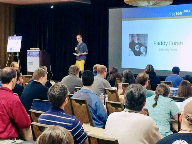 Image of the author speaking at the phptek event.