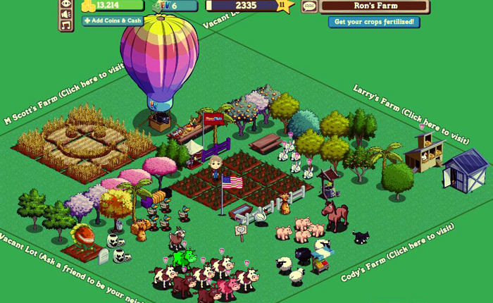 Screenshot of the game Farmville, with many brightly colored cartoon animals, a corn maze, a hot air balloon, and others arrayed on a grid. There are options to visit neighboring farms.