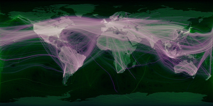 A visualization of world travel and communications recorded on Twitter, juxtaposed over a map of the world. It shows thousands of wisps of connections between countries and continents all over the globe.