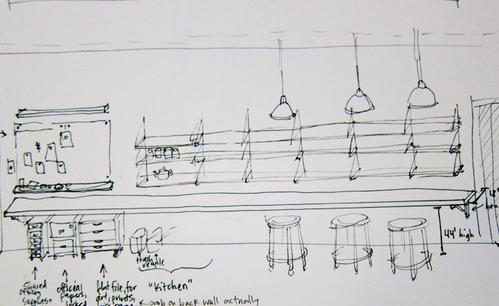 A preliminary sketch for tool storage and cafe-style work table at Double Union. The sketch is in black and white with thin pen lines outlining shelving, a bulletin board, file cabinets for official papers and a dangling light.