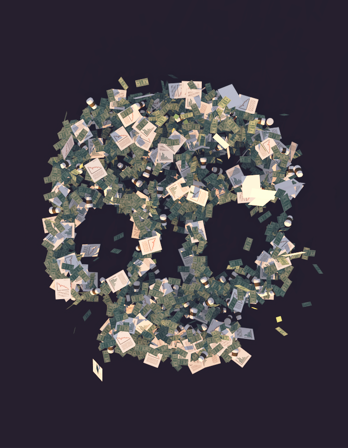 The clear outline of a human skull with looming eye sockets is formed by a large number of management-related objects, including cash, papers full of charts and graphs, post-it notes and coffee cups. The objects comprising the skull seem to be in free-fall as if dropped, some bills and post-it notes drifting outside the outline of the skull they make up.