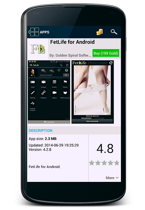 FetLife for Android app on the MiKandi app store.