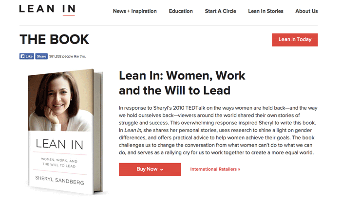 The Lean In book website, showing the cover of the book.