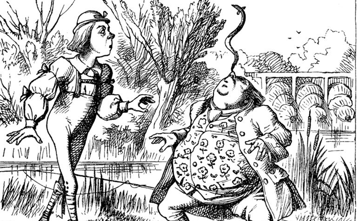 A pen and ink drawing of a skinny man watching a vested man balance a snake on his nose.