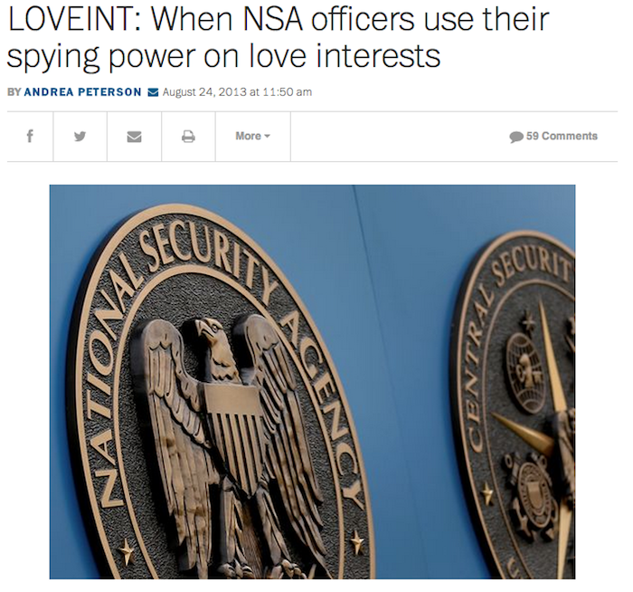 Media reports on NSA incidents of LOVEINT.