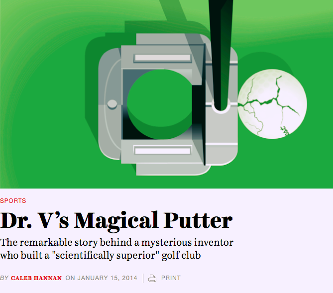 Screen shot of article header, which shows a graphic of a cracked golf ball on the precipice of the hole. The headline reads Dr. V's Magic Putter