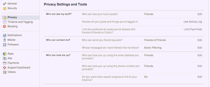 Screenshot of Facebook's privacy settings.