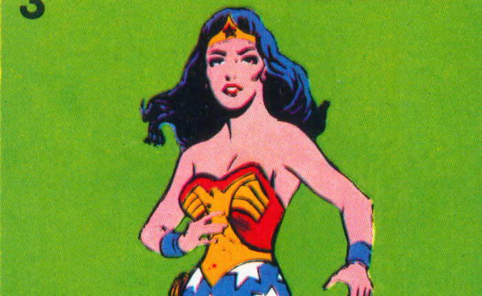 Another scan from the Wonder Woman card series; showing her in an action pose, hair flying out as she turns to face the viewer.