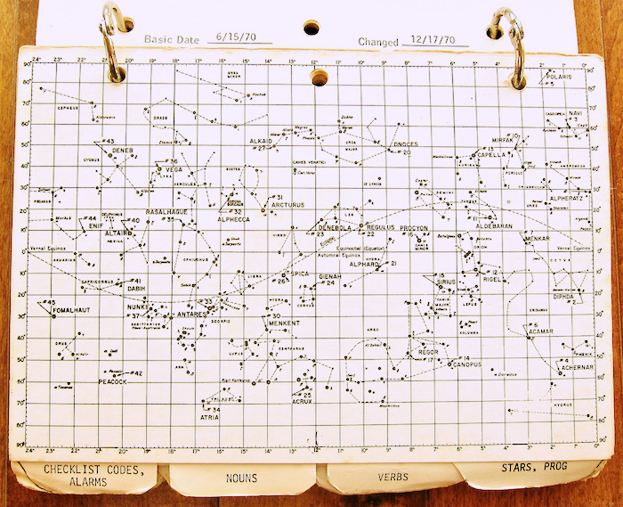 A chart of Apollo 14 Star Charts in a worn binder.