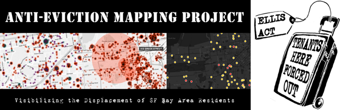 Screenshot of the Anti-Eviction Mapping Project's website, and a stencil sometimes used by activists to mark the sidewalk outside eviction locations. The stencil shows a rolling suitcase labeled 'Tenants here forced out' with a tag reading 'Ellis Act.'