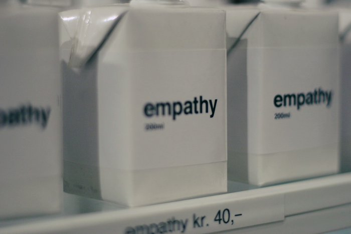 Boxes on a shelf that read 'empathy 200 ml'.