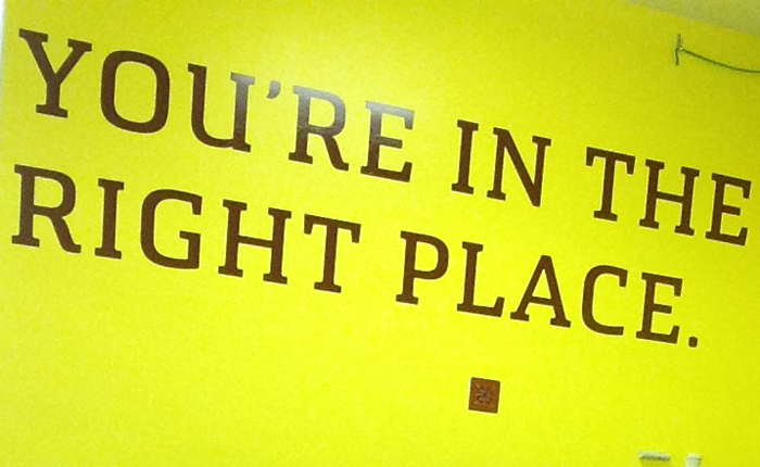 Large, foot high vinyl lettering on a brightly colored wall saying: You're In The Right Place.