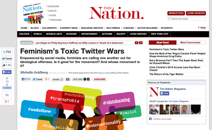 A screenshot of The Nation's article on Toxic Twitter Feminism as it appears on their website. A tiny magazine in the top corner shows that this article was on the front page of the print subscription.