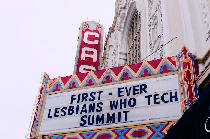 The marquee sign of the Castro Theatre, which reads: First-ever Lesbians Who Tech Summit.