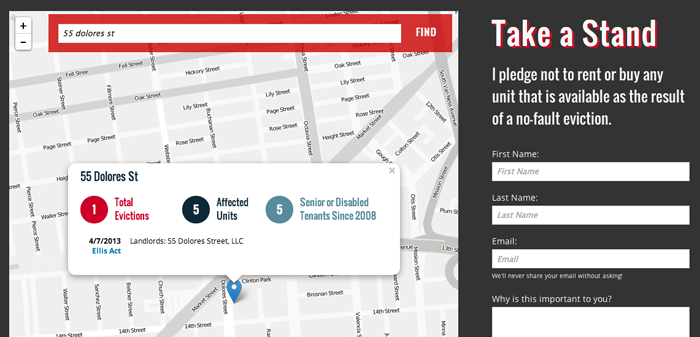 Screenshot of the map and pledge part of the tool. The map lets you search an address - in this case, 55 Dolores St. is searched and the map shows that there was an Ellis Act eviction there, which affected five senior or disabled tenants. On the side is a place to sign up to 'Take a Stand' and pledge not to rent or buy any unit that is available as the result of a no-fault eviction.