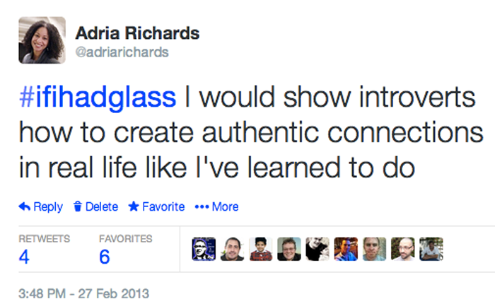 Screenshot of a tweet by Richards, the author. It begins with the hash tag saying 'if I had glass' and says that 'I would show introverts how to create authentic connections in real life like I've learned to do.'
