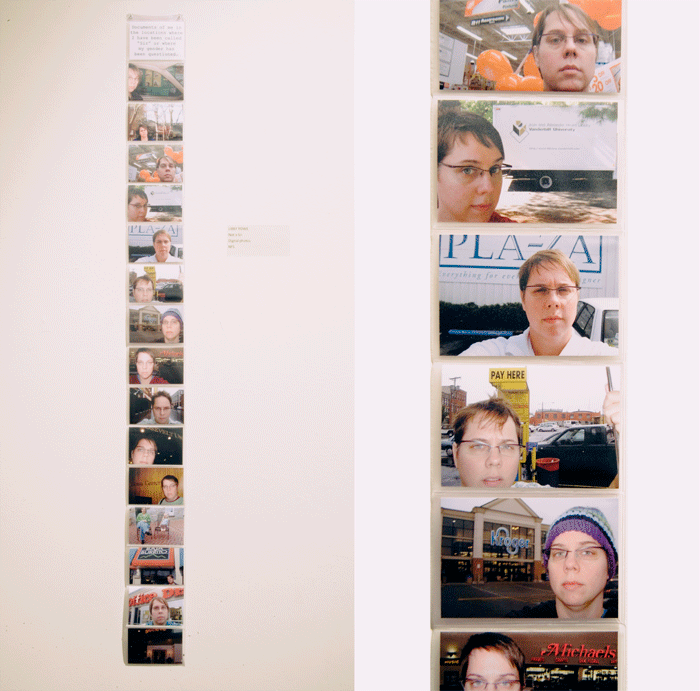 Photo of installation of Rowe's piece called 'Not a Sir' which is a collection of wallet-sized self portrait photos in a plastic accordion fold wallet insert, mounted on the wall. A detailed image shows a few of the portraits, which feature the artist in front of various locations, mostly stores, taken after she'd been called a sir by a stranger.