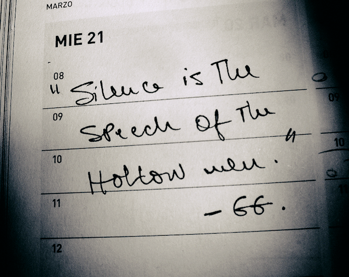 A note in a datebook: 'Silence is the speech of the hollow well. -GG.'